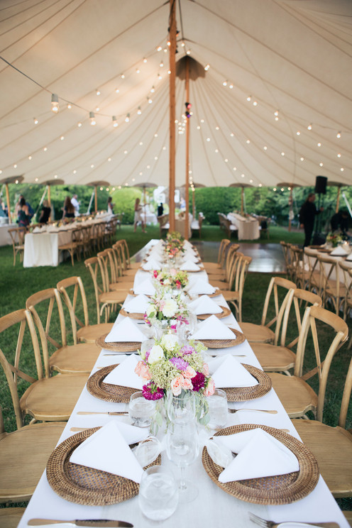 Place settings under tent