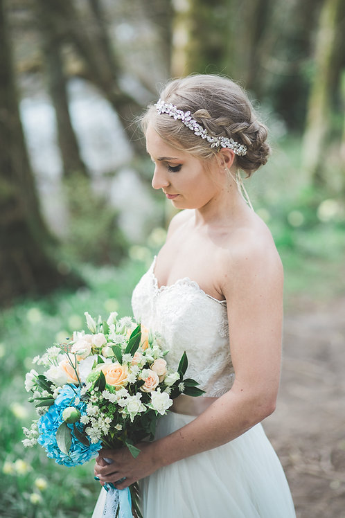 Hermia bridal rhinestone halo with pearls browband
