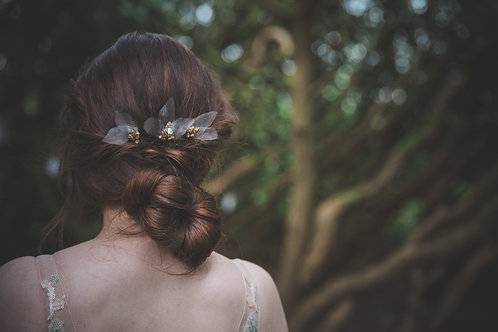 Petals Organza and rose gold bridal hair pins