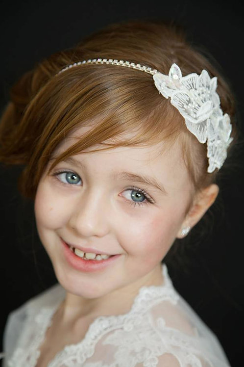 Chloe White Lace Communion Bridesmaids Headband