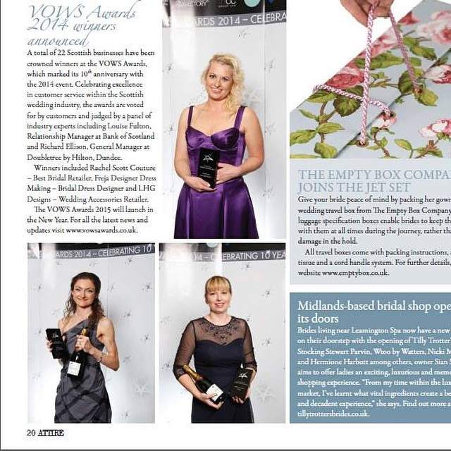 Lovely surprise to be featured in Attire bridal industry magazine for my #vows #award #bridal #acces
