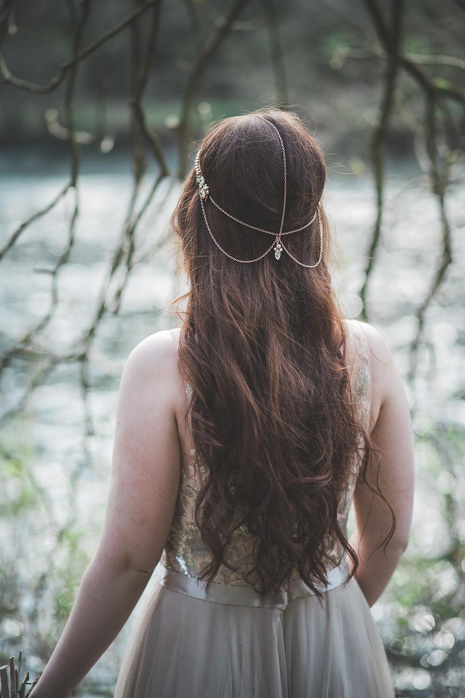 Rose Gold bridal head chain, browband, halo bridal hair accessories glasgow
