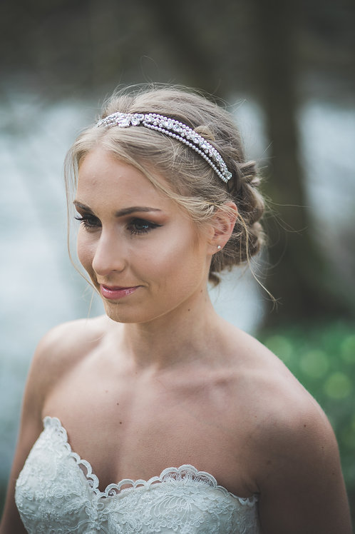 Marina 2 bridal headband browband art deco pearls