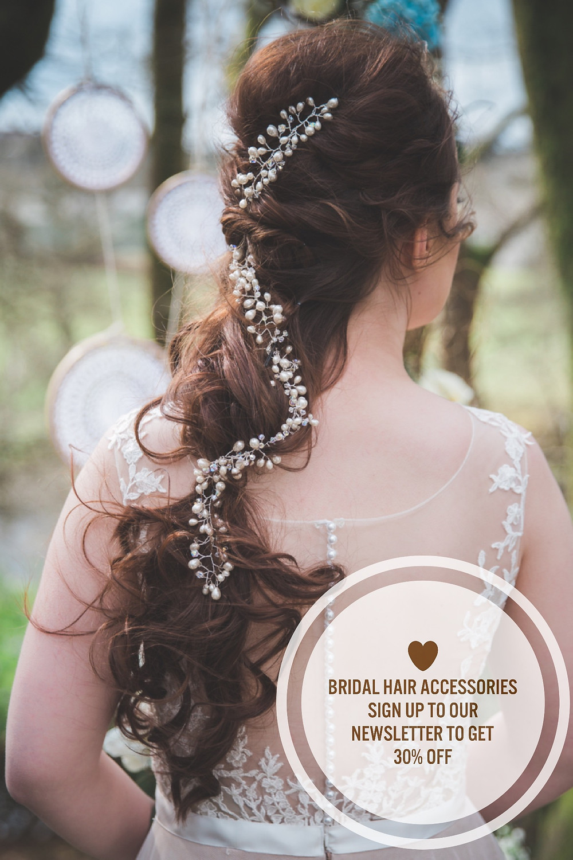Bridal hair accessories vine, bridal hairstyle