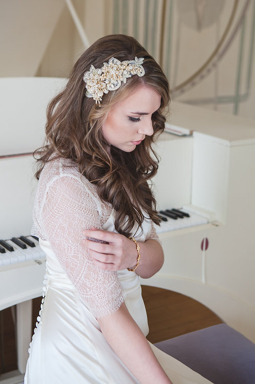 Oracia Flor gold bridal side headband tiara