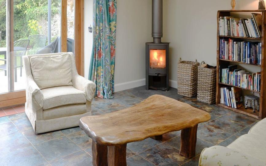 log burning stove in rusko house