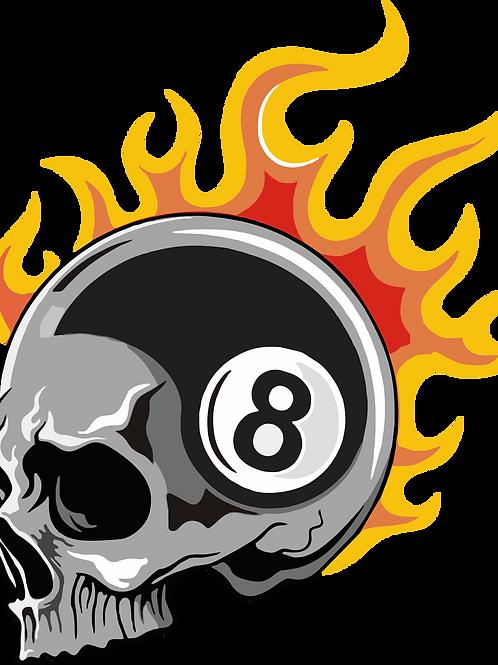 8 Ball Skull Flame