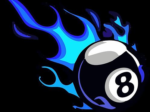 8 Ball Blue Flame