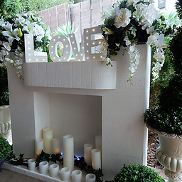 Aisle decorations queensland wow weddings wedding and event hire wedding fireplace with decor junglespirit Image collections
