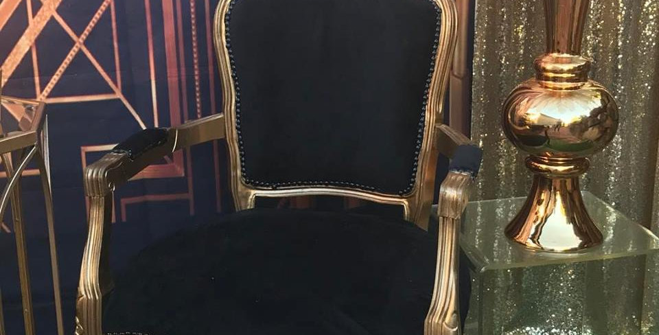 Black & gold French chair