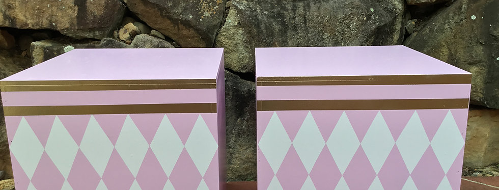Pink, Gold and White  Plinths,Set of 2