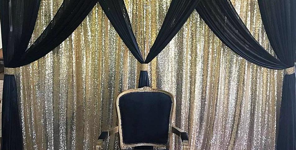Black & Gold Crisscross Backdrop 3m by 3m
