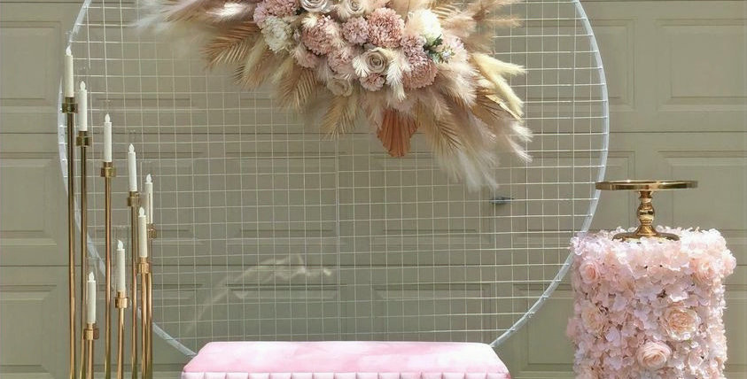 Pampas Grass and Blush Flowers Bridal Shower Package