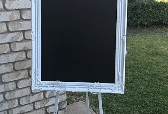 Baroque White Chalkboard with Easel