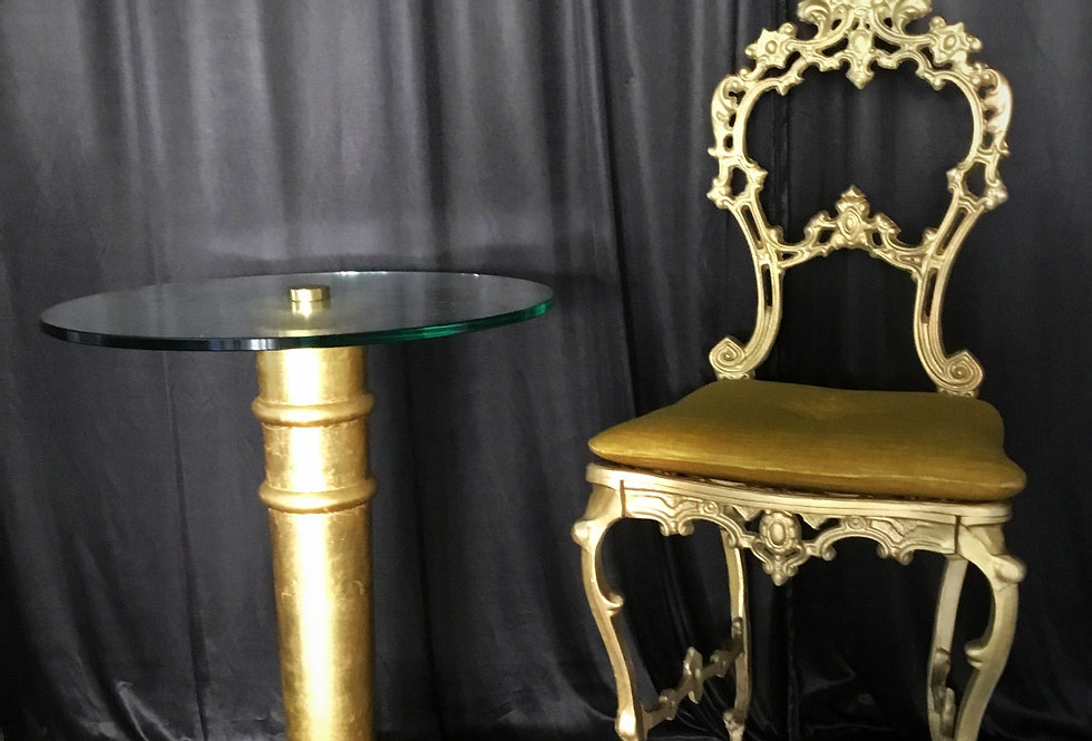 Antique Gold Chair Elizabeth With Side Table
