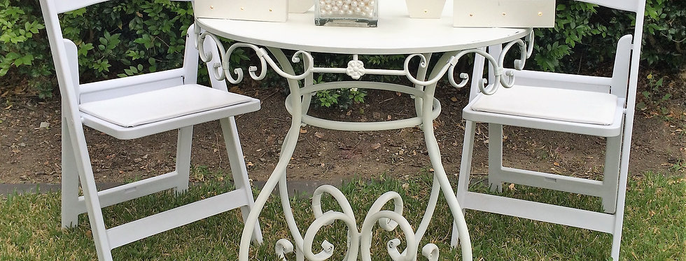 Iron Registry Desk with Americana Chairs