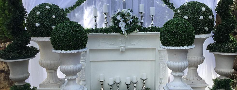 Ceremony Backdrop - Fireplace Mantel