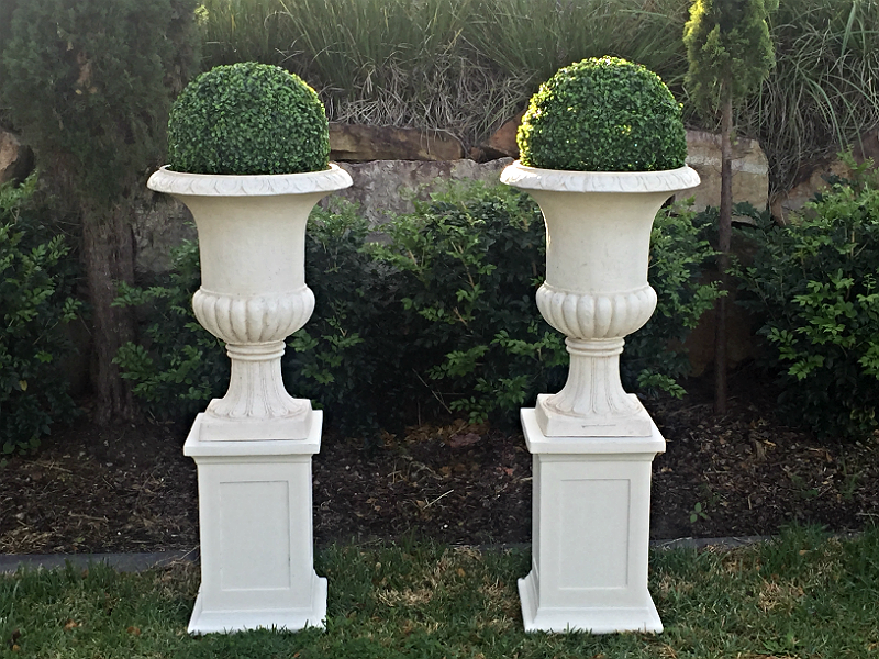 Urn on   Pedestal with Boxwood Ball