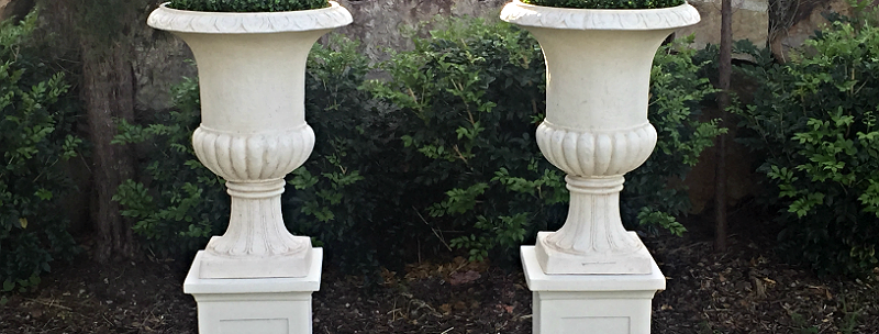 Pedestal and Urn with Boxwood  Ball