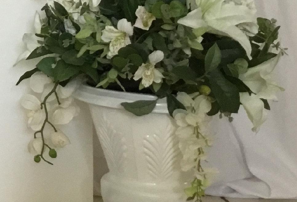 Metal Urn with Flower Arrangement