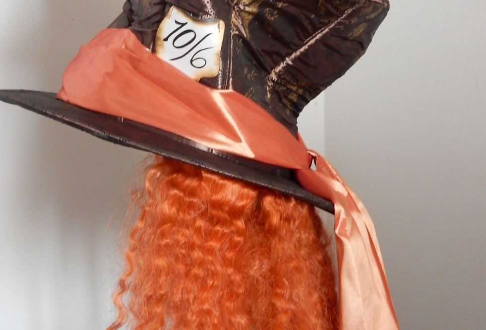 Alice In Wonderland Mad Hatter Hat with Hair