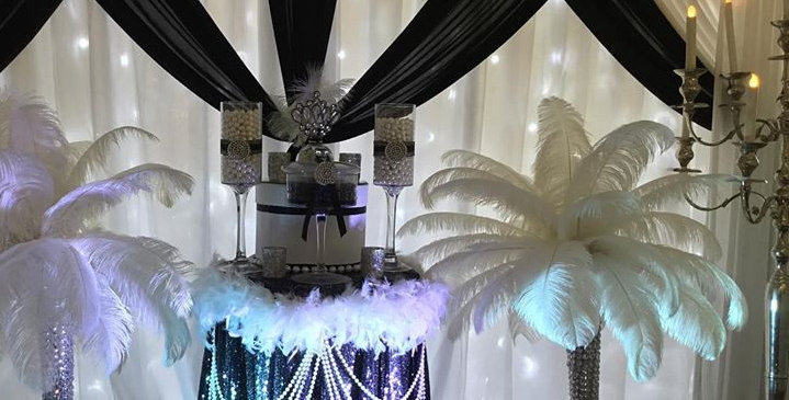 Black & White Backdrop Gatsby Style with  Fairy Lights
