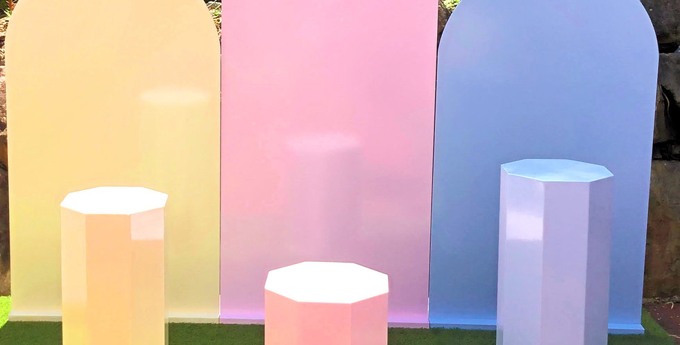 Pastel Arch Trio Wall with Matching Plinths
