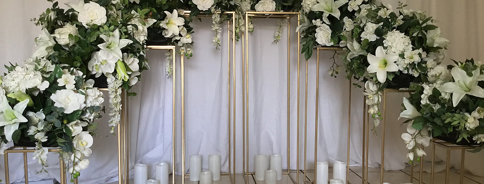 Floral arrangements with Gold Iron Flower Stand Centerpieces
