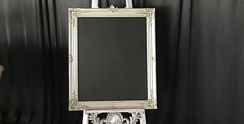 Baroque Silver Chalkboard with Ornate Easel