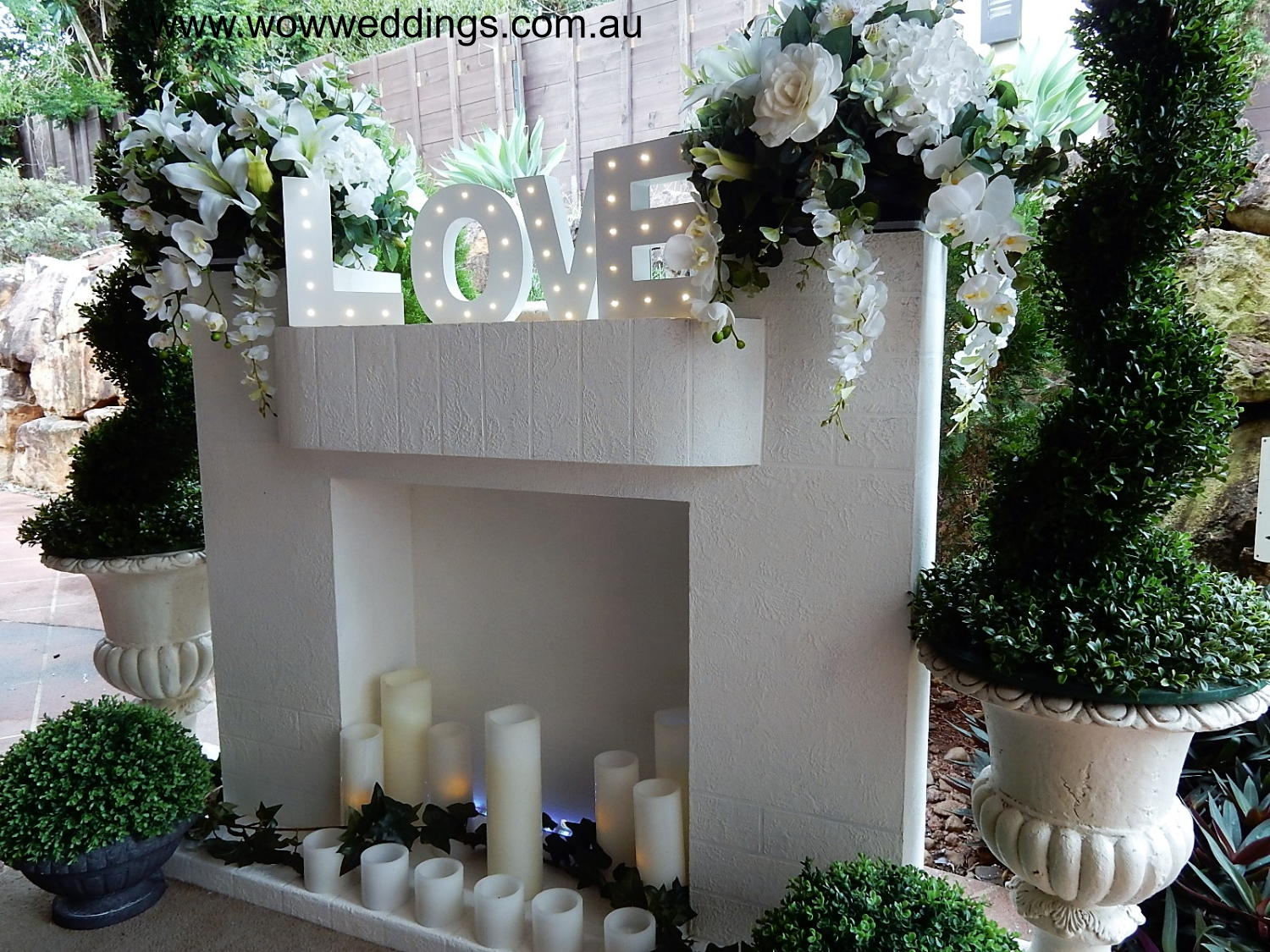 Fireplace Mantel wedding hire