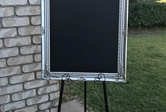 Baroque Silver Chalkboard with Easel
