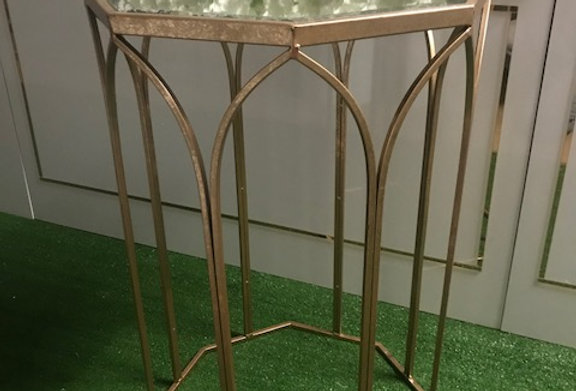 Gold octagon side table with mirror top