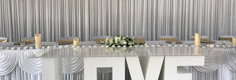 LOVE dessert table, backdrop and bridal table skirting Combo