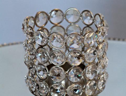 Cylindrical crystal T-light holder Jayla