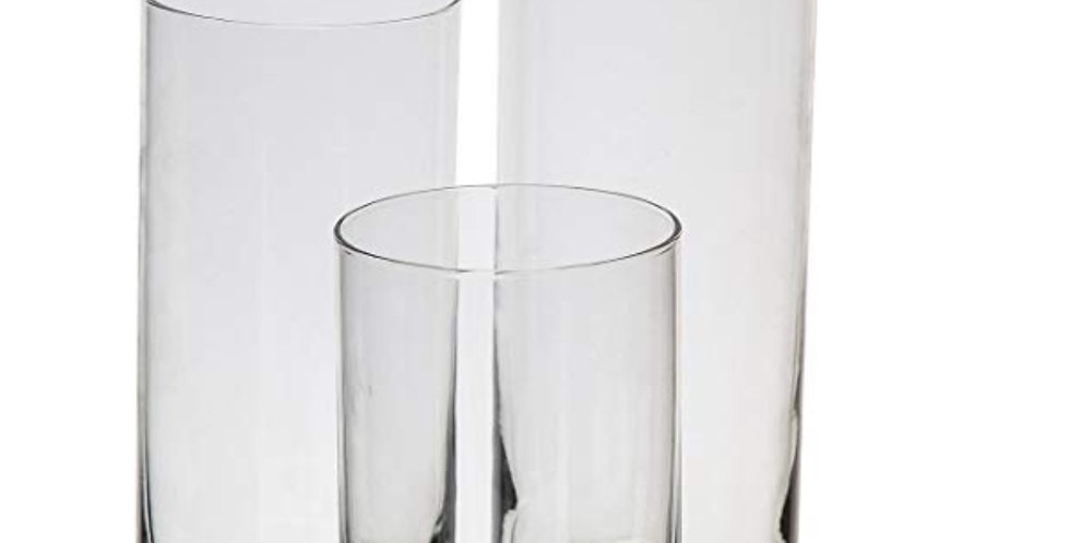 Trio of Cylinder Glass Vases