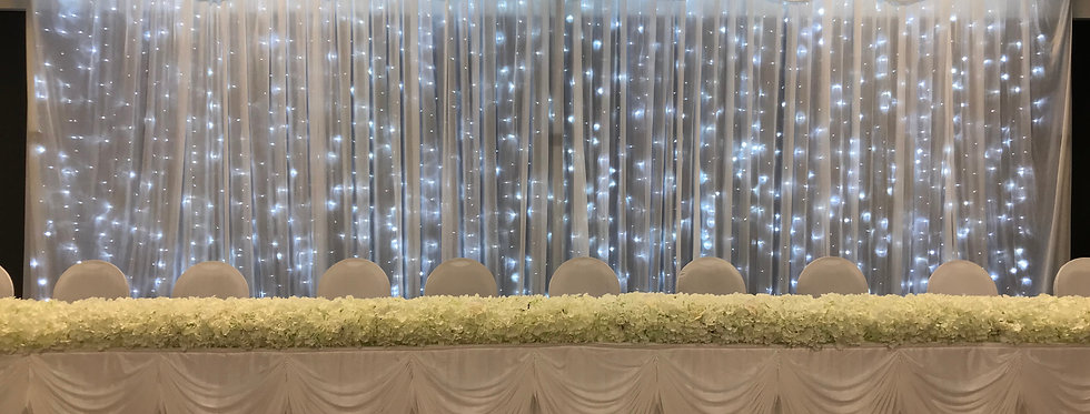6m White Ice Backdrop Curtain with Swagging and Fairy Lights