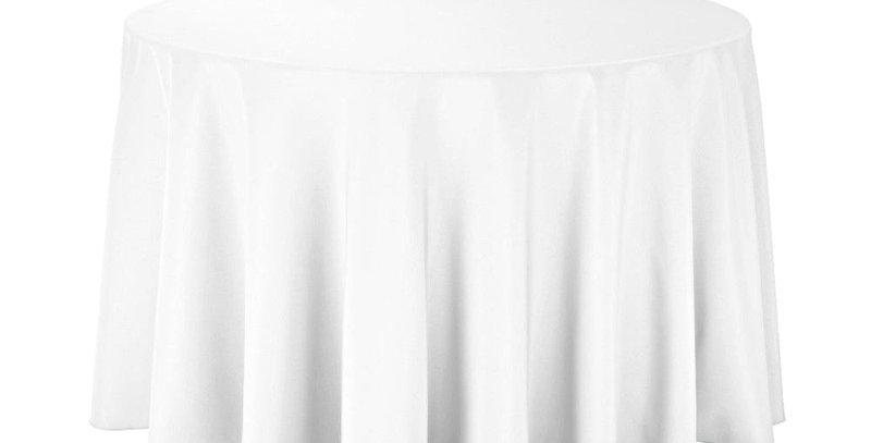 White 260 cm  Round White Tablecloth