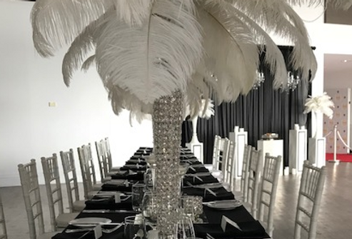 Crystal vase with  white feathers Crystal