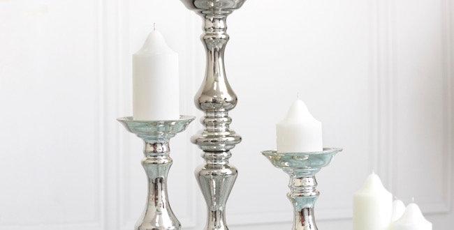 3 x Silver Glass Candelabra Oscar