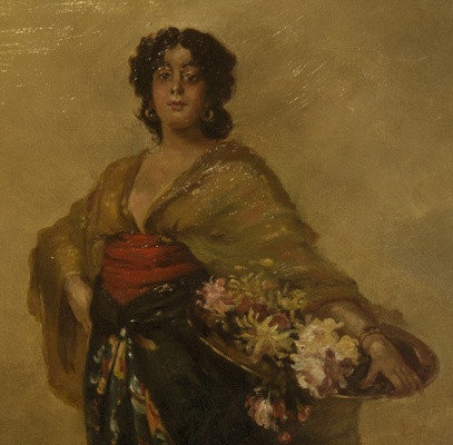 """""""Woman holding Flowers"""" Unsigned """"Woman holding Flowers"""""""