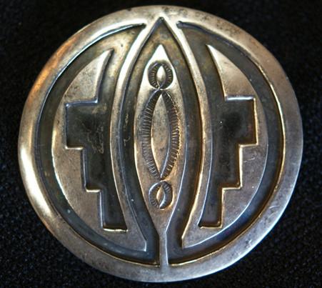 Willie Yazzie Navajo Silver Carved/ Stamped Pin