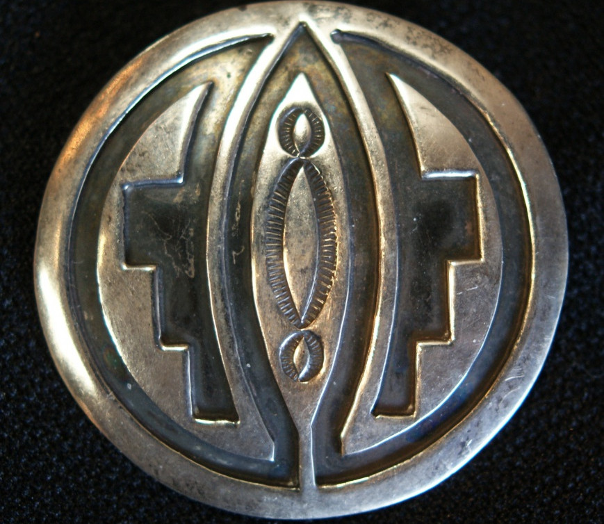 Willie Yazzie Navajo Silver Carved/ Stamped Pin