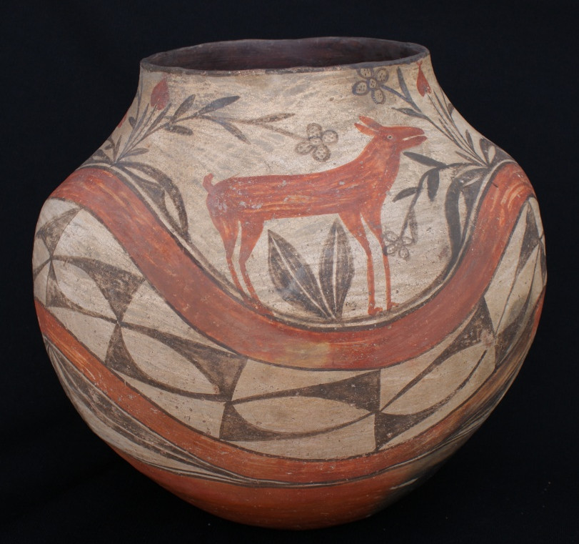 Zia Pueblo Polychrome Large Decorated Pottery Jar with Deer Artist Unknown