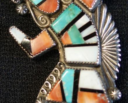 Zuni Pueblo Sterling Silver Polychrome Stone Inlay Kachina Pin