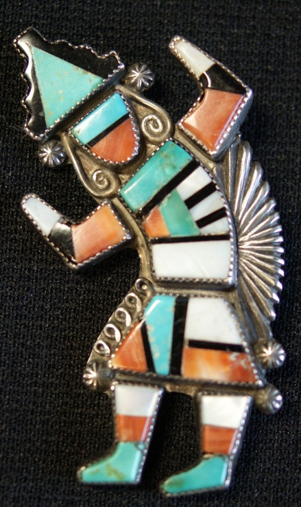 Zuni Pueblo Sterling Silver Polychrome Stone Inlay Kachina Pin