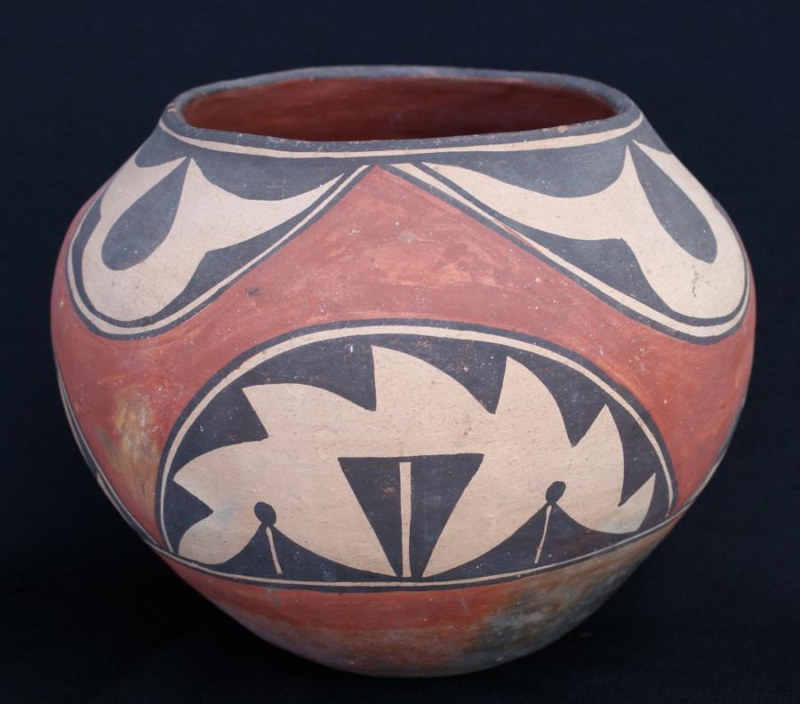 Zia Pueblo Polychrome Decorated Pottery Jar Circa 1920 Artist Unknown