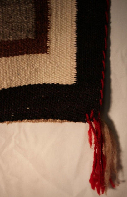 "1930's Navajo Crystal Rug W/Crosses Red, Brown, Cream, Black & Gray 90"" x 45"""