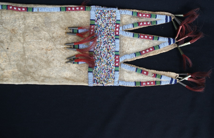 1890's Crow Indian Three Tab Style Beaded Pipe Bag W/Tin Cones Sewn On Deer Hide Artist Unknown