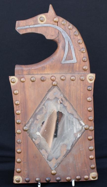 Ioway (Iowa) Plains Indian Horse Head Effigy Dance Mirror Board Circa 1880 Artist Unknown