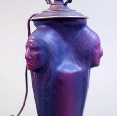 Van Briggle Early Indian Heads Lamp Circa 1920's